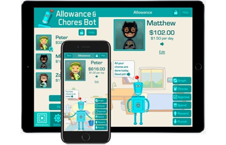 Allowance and chores bot screens showing how much money a child has saved