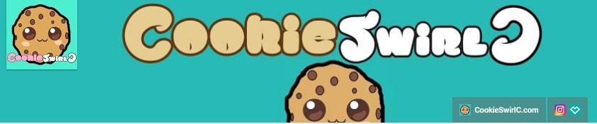 Teal cookieswirl c youtube banner with smiling chocolate chip cookie