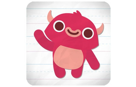 Endless reader icon with a pink monster on notebook paper