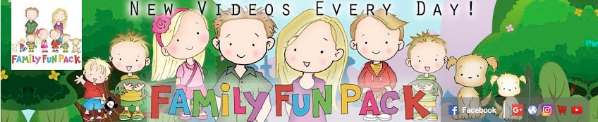 Colorful family fun pack youtube header with large cartoon family