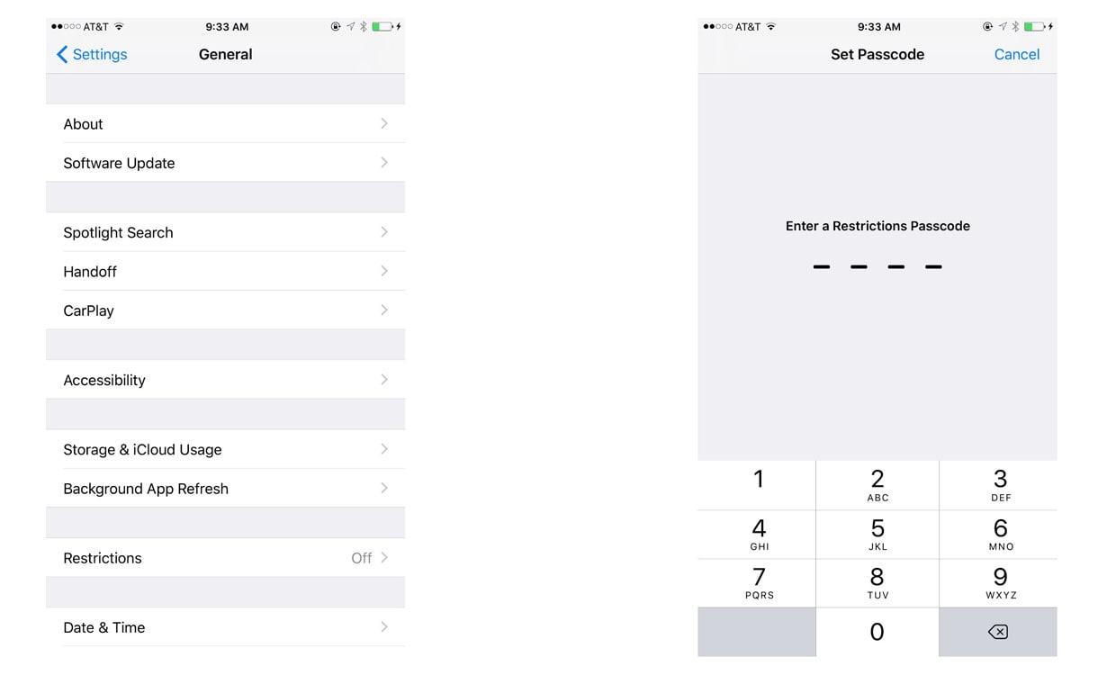 iPhone 8 general settings menu and set passcode screen