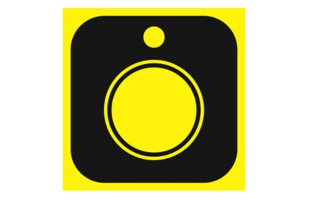 Black and yellow hisptamatic icon with camera