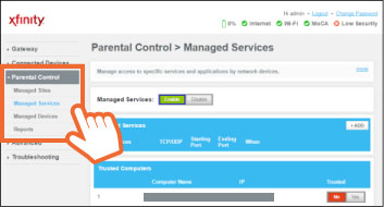 Xfinity Gateway Admin Tool Screenshot with left hand parental control dropdown menu highlight.