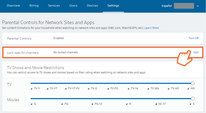 Xfinity TV Online Parental Controls Screenshot with Lock Specific Channel highlight