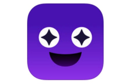 Purple square hype icon with smiling face