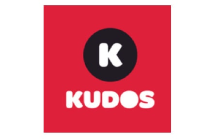 Square red kudos icon with k in the center
