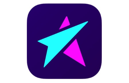 Square live me icon with teal and pink star