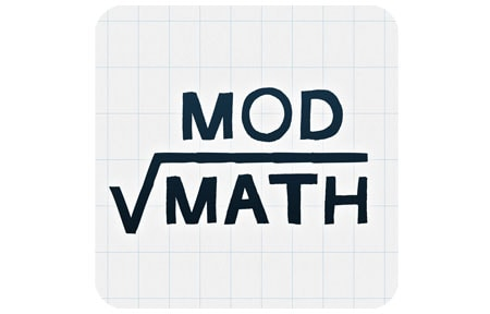 Mod math icon with mod math written on graph paper
