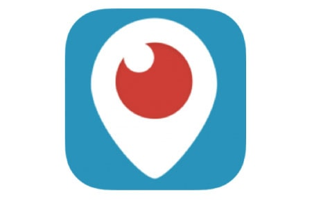 Blue square periscope icon with red eyeball in center