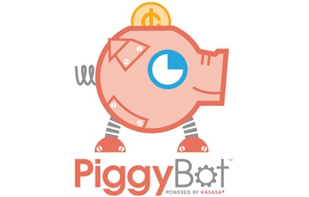 Piggybot icon with pink robot piggy bank