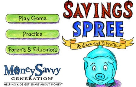 Savings spree money saving app for kids screen