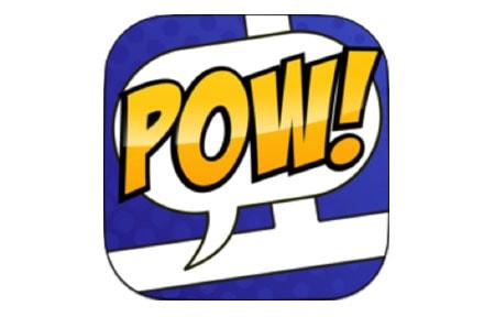 Strip desinger icon with pow written across it like a comic book
