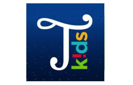 Typic kids icon with a capital t and kids written vertically beside it