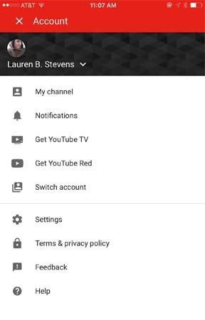 Youtube mobile account menu