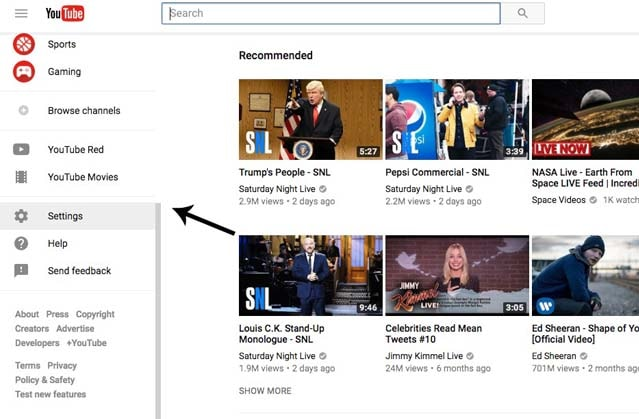 Youtube homepage with settings menu highlighted in left side bar