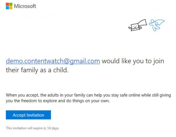 Windows 10's email confirmation of adding child