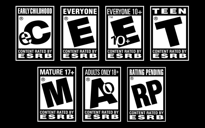 Esrb video gaming rating badges