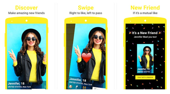 How to screens from the yellow app showing users how they can swipe to find new friends