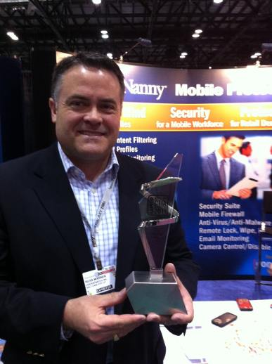 Our CEO Russ Warner holding the the Best Business App award