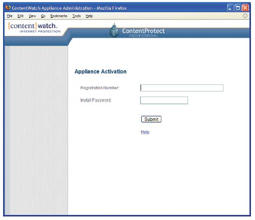 ContentProtect Appliance Application Page